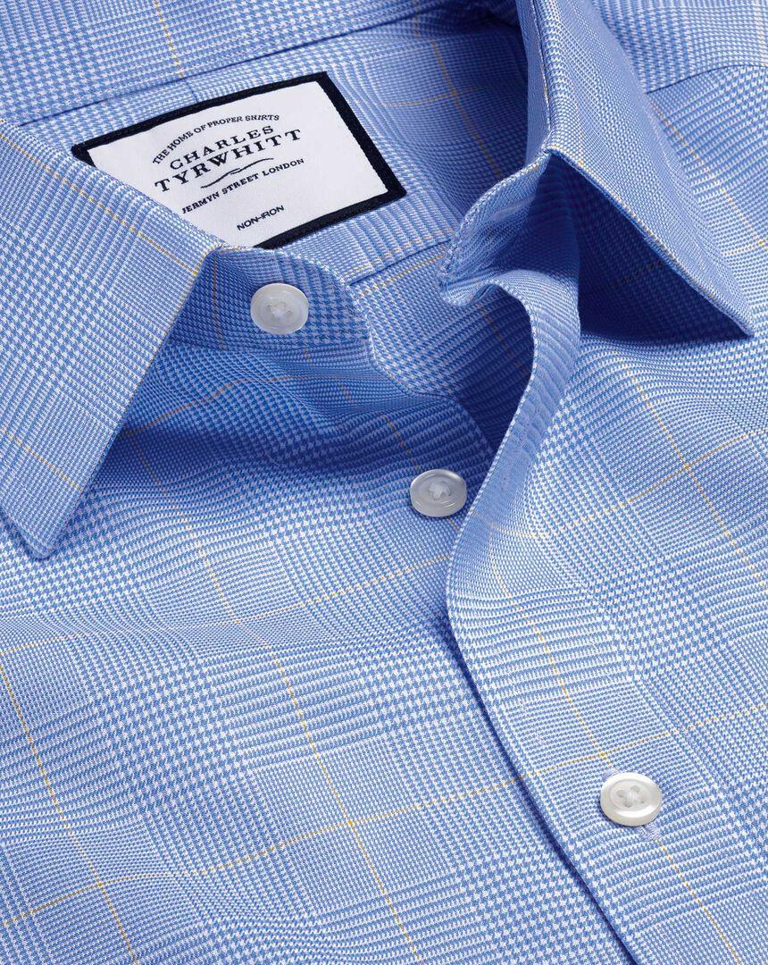 Bügelfreies Hemd mit Prince-of-Wales-Karos - Blau & Gold