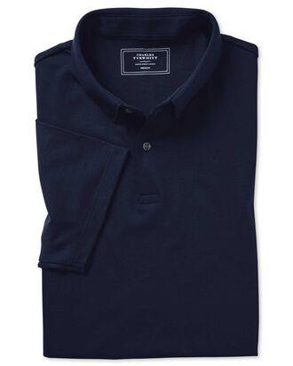 Plain navy jersey polo