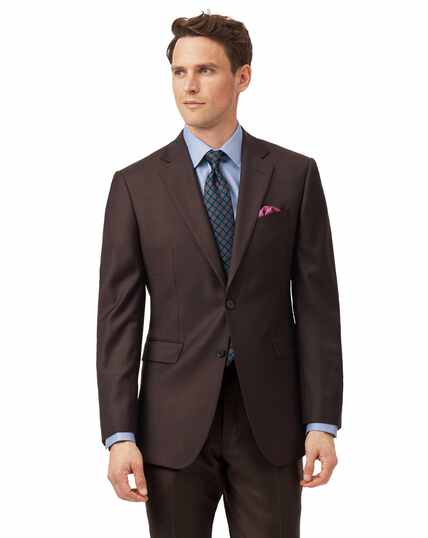 Brown slim fit twill business suit jacket