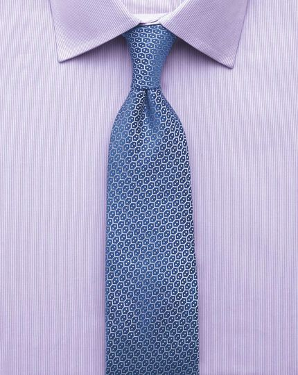 Slim fit fine stripe lilac shirt