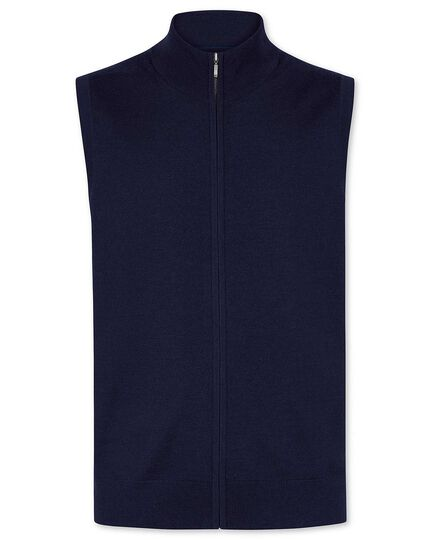 Navy merino zip through  gilet