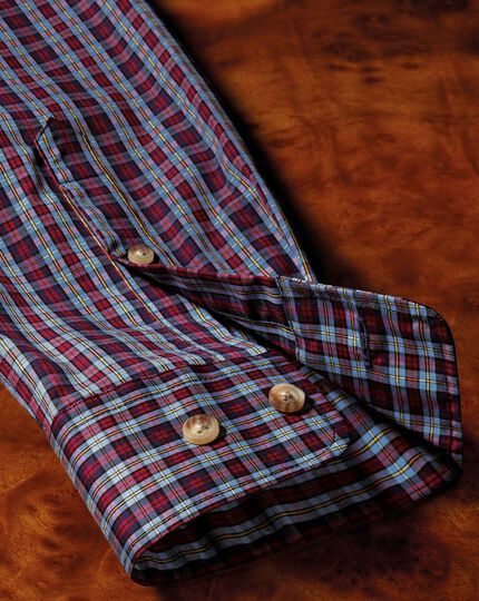 Classic fit button-down non-iron poplin blue and red check shirt