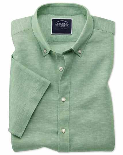 Slim fit green cotton linen twill short sleeve shirt