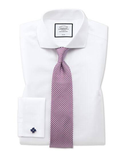 Bügelfreies Slim Fit Twill-Hemd mit Haifischkragen in Weiß