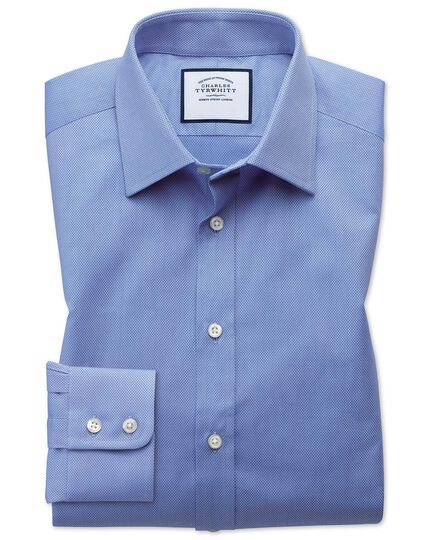 Slim fit Egyptian cotton trellis weave mid blue shirt