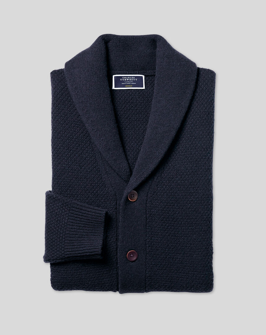 Merino Chunky Honeycomb Shawl Neck Cardigan - Navy