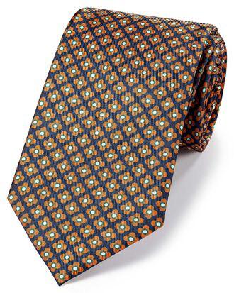 Cravate classique bleu marine et orange en soie avec imprimé géométrique