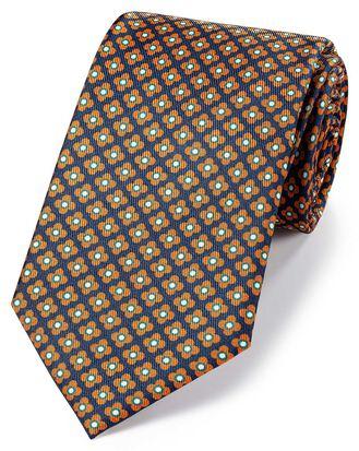 Navy and orange silk printed geometric classic tie