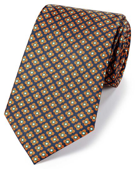Navy and orange silk printed geometric classic tie