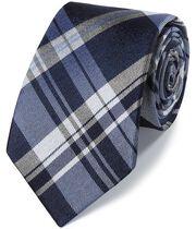 Cravate classique bleue en soie à carreaux ton sur ton