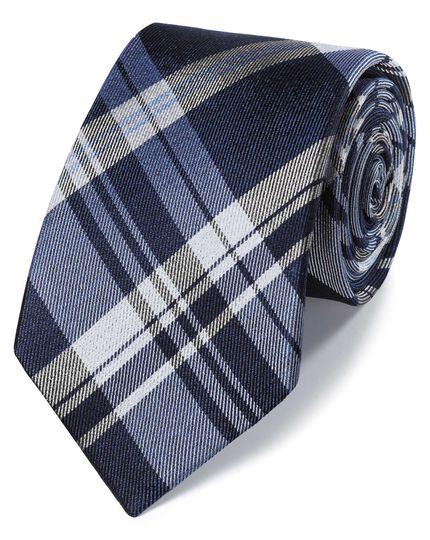 Blue tonal check silk classic tie