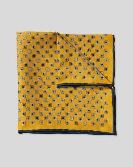 Mini Geometic Print Pocket Square - Gold & Sky