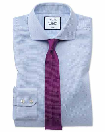 Hemelsblauw, strijkvrij katoenen stretch Oxford-overhemd met superslanke pasvorm