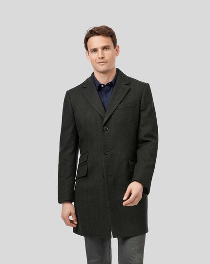 Herringbone British Wool Cotton Epsom Coat - Green