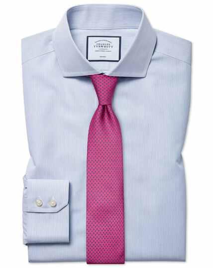Bügelfreies Tyrwhitt Cool Extra Slim Fit Hemd mit Streifen in Blau
