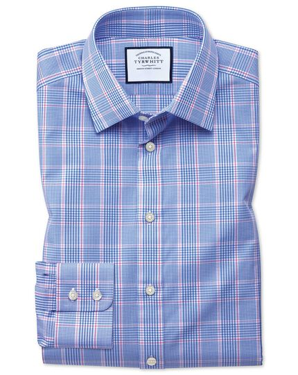 Slim fit Prince of Wales check blue and pink shirt