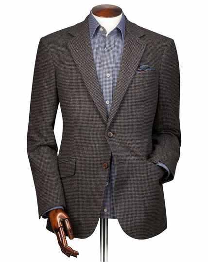 Slim fit brown puppytooth wool jacket