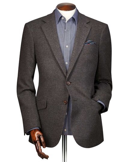 Slim fit brown puppytooth wool jacket