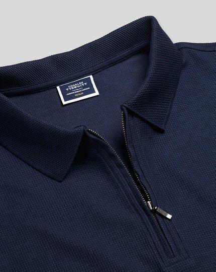 Tyrwhitt Cool Polo mit Waffelmuster und Reißverschlusskragen - Marineblau