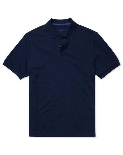 Polohemd aus Baumwoll-Piqué in Marineblau