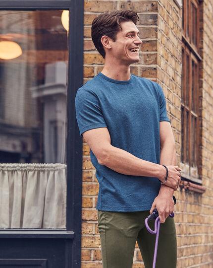 Cotton Linen Tyrwhitt T-shirt - Blue