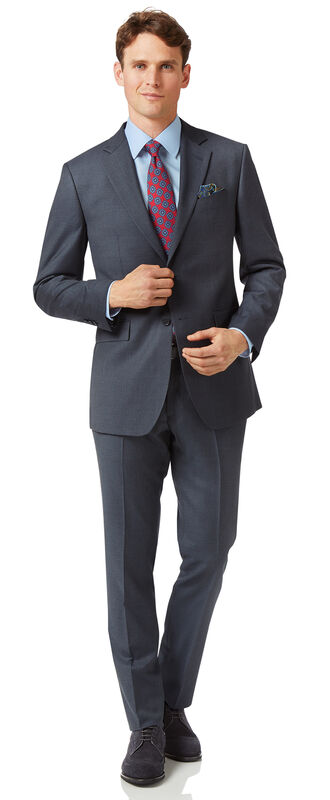 Steel blue slim fit twill business suit