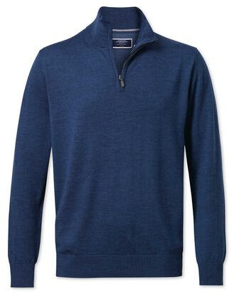 Mid blue merino wool zip neck sweater