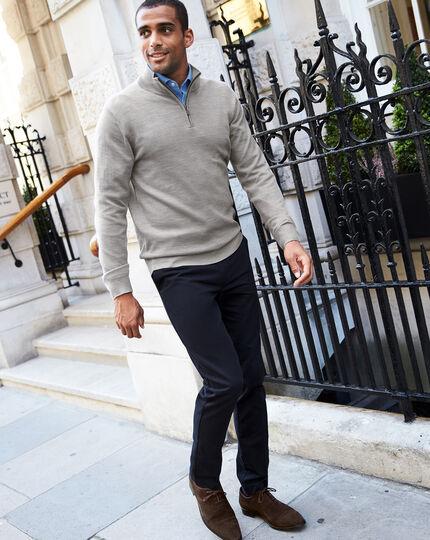 Silver zip neck merino sweater