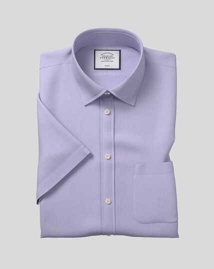 Classic Collar Non-Iron Tyrwhitt Cool Poplin Short Sleeve Shirt - Lilac