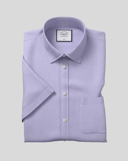 Bügelfreies Tyrwhitt Cool Popeline-Kurzarmhemd mit Kent Kragen - Lila