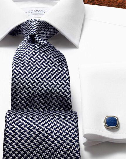 Navy silk classic puppytooth tie