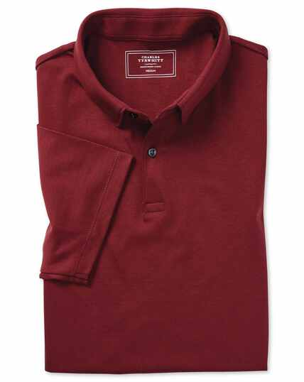 Red plain short sleeve jersey polo