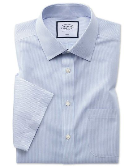 Slim fit non-iron Tyrwhitt Cool poplin short sleeve blue stripe shirt