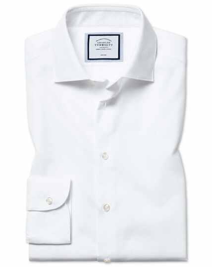 Bügelfreies Extra Slim Fit Hemd mit Natural Stretch in Weiß