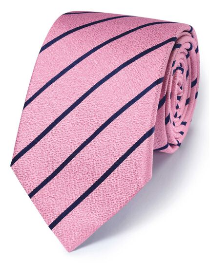 Pink and navy silk classic textured stripe tie