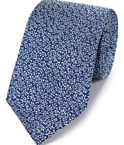 Royal blue silk micro leaf classic tie