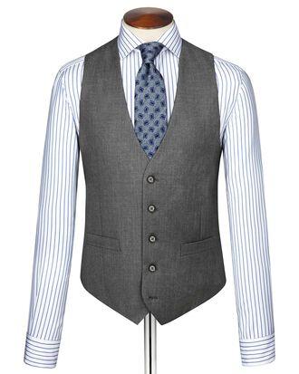 Mid grey twill business suit waistcoat