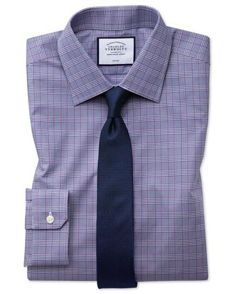 Bügelfreies Super Slim Fit Hemd mit Prince-of-Wales-Karos in Beerenrot und Marineblau