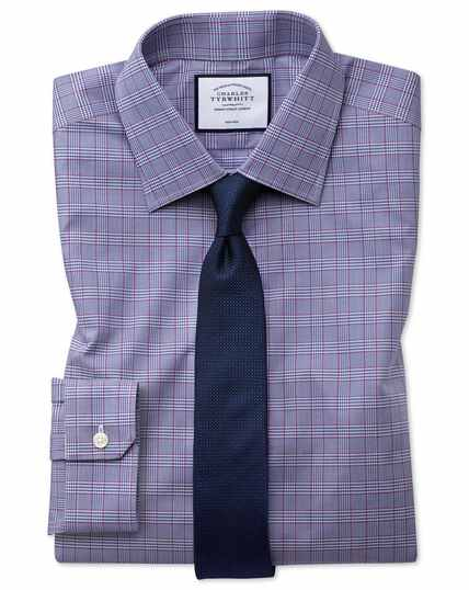 Super slim fit non-iron berry and navy Prince of Wales check shirt