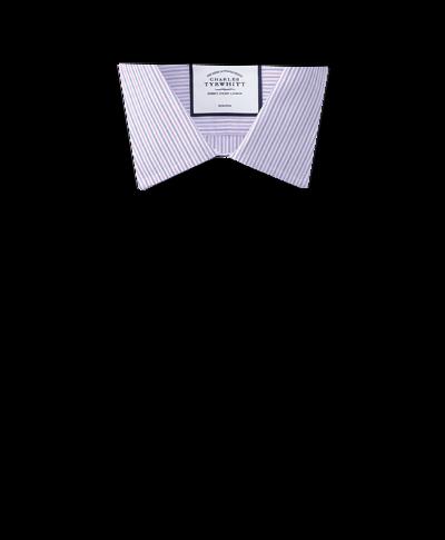 Bügelfreies Slim Fit Hemd mit buntem Streifenmuster in Lila und Blau