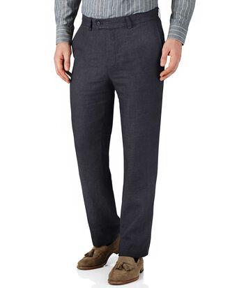 Navy classic fit linen pants