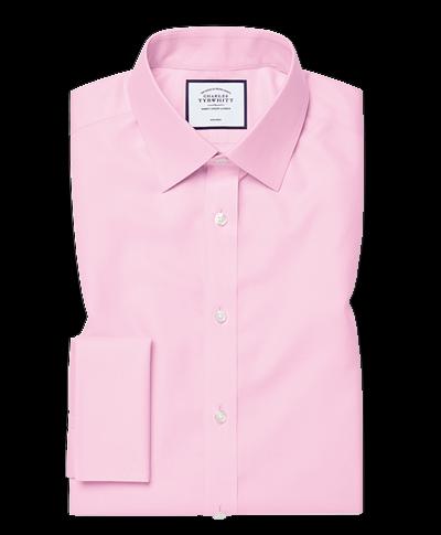 Bügelfreies Classic Fit Twill-Hemd in Rosa