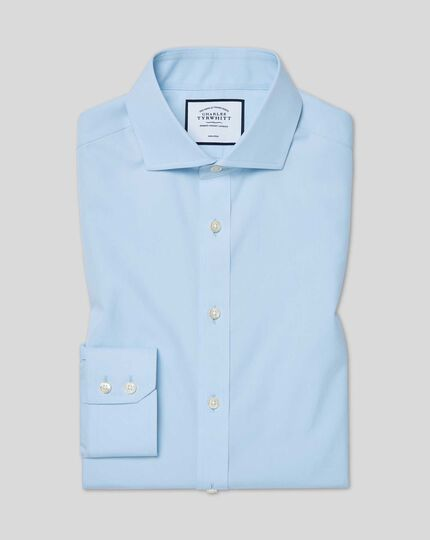 Spread Collar Non-Iron Tyrwhitt Cool Poplin Shirt - Sky