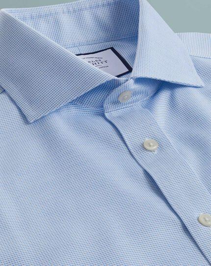 Extra slim fit non-iron cotton stretch Oxford sky blue shirt