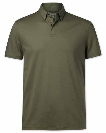 Polohemd Jersey in Olive