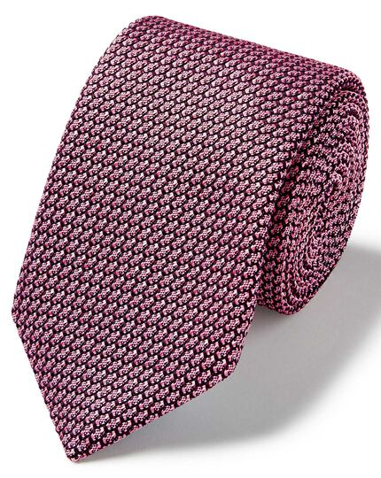 Light pink silk grenadine italian luxury tie