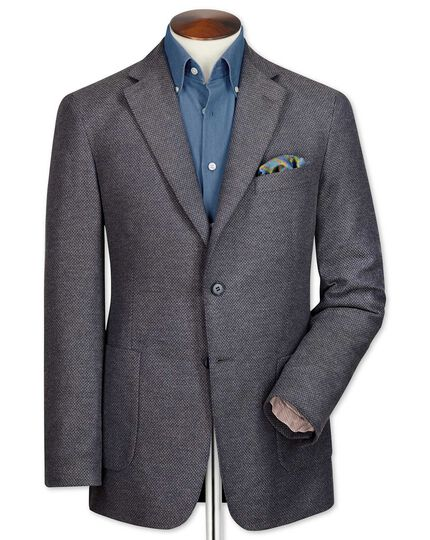 Slim fit grey semi-plain cotton jacket