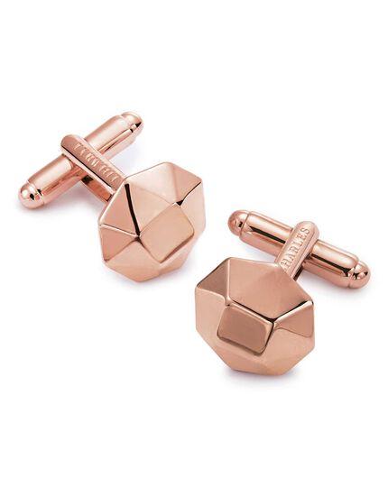 Boutons de manchettes octogonaux en métal or rose