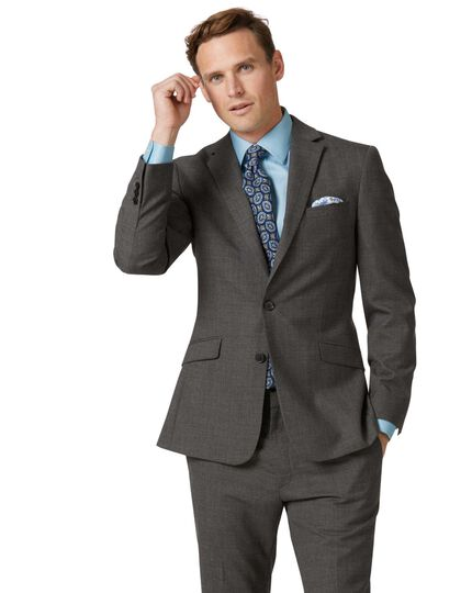 Grey slim fit merino business suit jacket