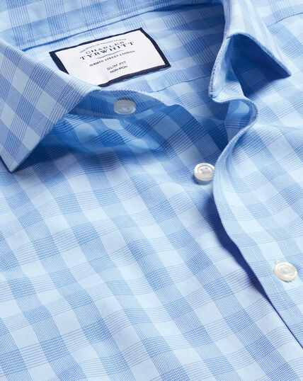 Spread Collar Non-Iron Tyrwhitt Cool Poplin Check Shirt - Sky & Blue
